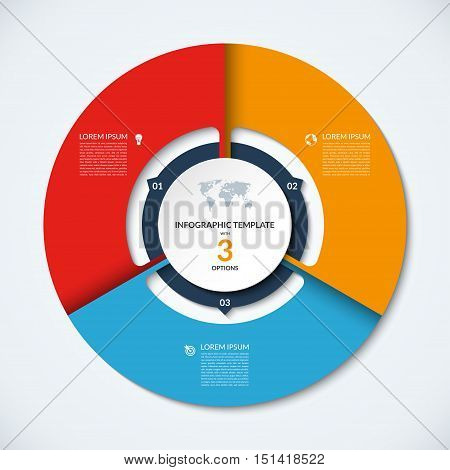 Circle infographic template. Vector layout with 3 options. Can be used for cycle diagram, round chart, graph, annual report, presentation, web design, step by step infographics