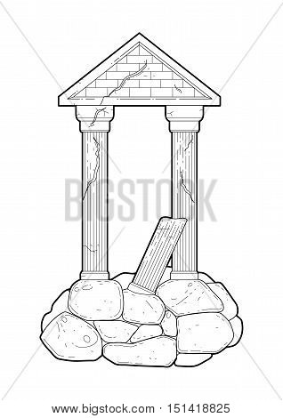 Graphic half-ruined Roman architecture with column in line art style. Ancient building isolated on the white background in black colors. Coloring book page design for adults and kids.