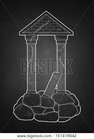 Graphic half-ruined Roman architecture with column in line art style. Ancient building isolated on the chalkboard.