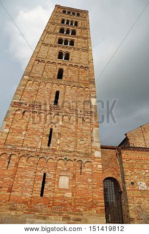Bell Tower Of Pomposa Abbey An Historical Building In Italy