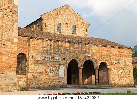 Ancient Abbey Of Pomposa Historic Building In The Po Valley In I