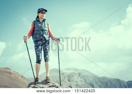 Hiking and leisure theme. Adventure people on hike hiking in nature