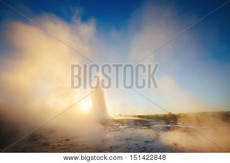 Great view of Strokkur geyser in morning light. Popular tourist attraction. Dramatic and gorgeous scene. Location place Geyser Park, Hvita river, Haukadalur valley area, Iceland. Europe. Beauty world.