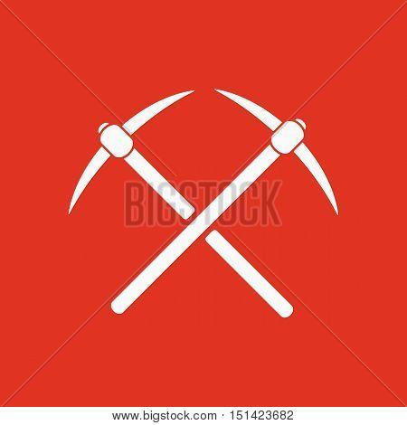 The pick icon. Pickax symbol. Flat Vector illustration
