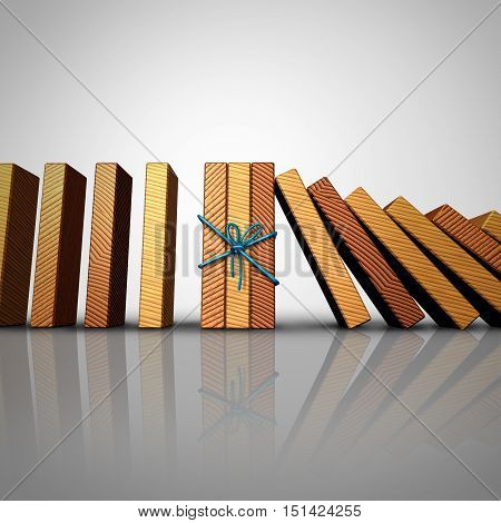 Concept of teamwork and strong partnership stability strategy as a group of domino pieces tied together to stop the fall damage crisis as a business metaphor for unity strength diversity as a 3D illustration.
