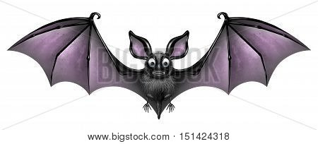 Bat isolated on a white background as a creepy and cute flying webbed winged smiling mammal as a spooky vampire horror symbol or halloween celebration icon with 3D illustration elements.