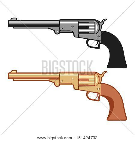 Silver and gold Vector Revolver Gun isolated on white, vector cartoon illustration.