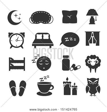 Sleep, night relax, pillow, bed, moon, owl, zzz vector icons sleeping symbols set. Bedroom for rest, clock and moon with star illustration
