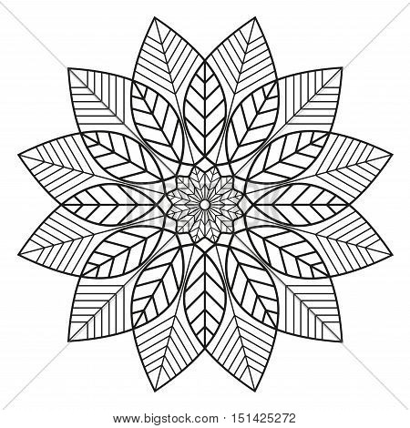 Mandala of leaves. Botanical icon and logo design template for homeopathy, alternative medicine, herbal therapy products. Black & white floral ornament for coloring book pages.