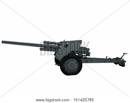 Clipping Path Anti-Tank Gun or Cannon from World War Two