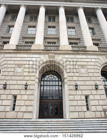 Front entrance to the IRS building in Washington DC.