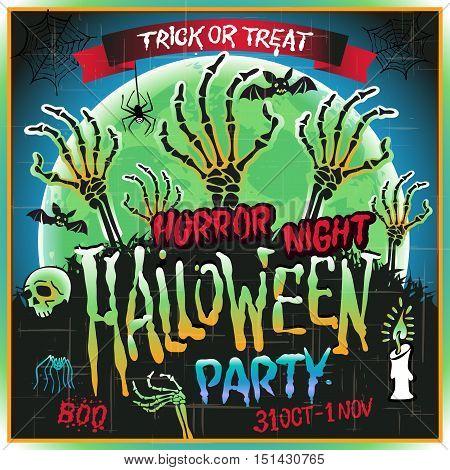 Halloween Party Horror Night Poster Design Template. Vector Illustration.