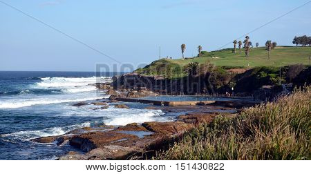 Outdoor swimming pool and golf course at Malabar beach (Sydney NSW Australia)