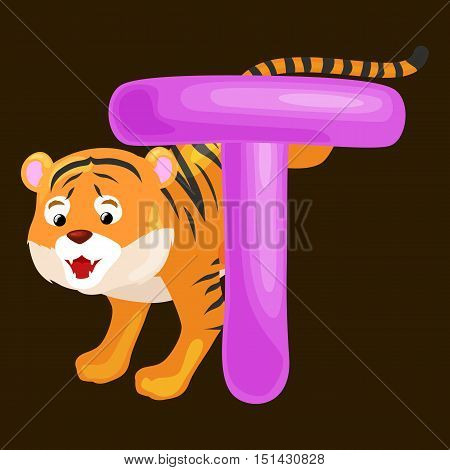 Tiger Animal And Letter T For Kids Abc Education In PreschoolCute Animals Letters English Create A Lightbox