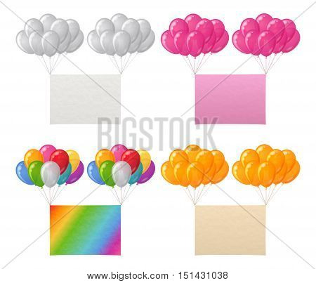 Set Of Bunches Colorful Balloons Flying with Paper Sheets of Various Colors, Elements For Holiday Design. Eps10, Contains Transparencies. Vector