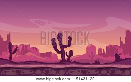 Desert wild cartoon landscape in sunset with cactus, hills and mountains. Seamless background for interface computer game. Vector illustration