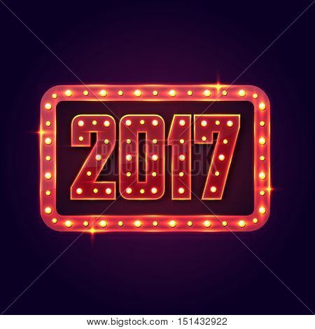 Marquee lights decorated frame with text 2017 for Happy New Year celebration.