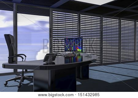 An office with a diagram on the monitor (3d rendering)