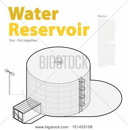 Water tank, outlined cistern. Water treatment isometric building info graphic element. Rounded gasometer, big gasholder, white background. Pictogram industrial reservoir set. Isolated master vector.
