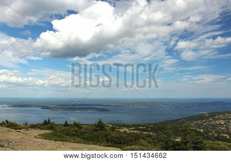 View of the coast of Maine from Cadillac Mountain in Acadia National Park