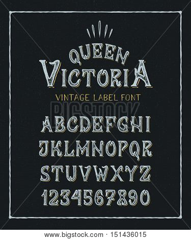 FONT QUEEN VICTORIA. Hand crafted old retro vintage typeface design. Original handmade textured lettering type alphabet on navy background. Authentic handwritten font vector letters and numbers.