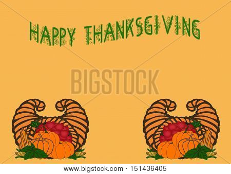 Happy Thanksgiving Greeting with Harvest Produce on Orange