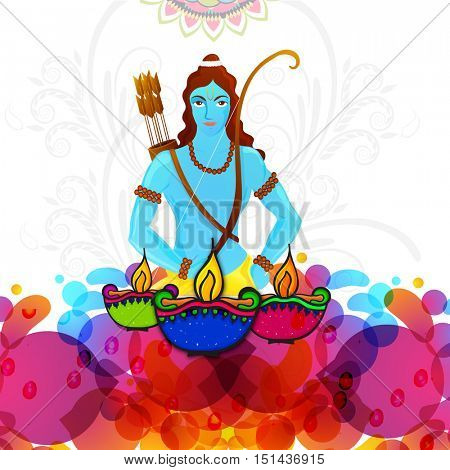Hindu Mythological Lord Rama and illuminated Oil Lamps (Diya) on colorful abstract floral background, Vector illustration usable for Indian Festival, Diwali celebration.