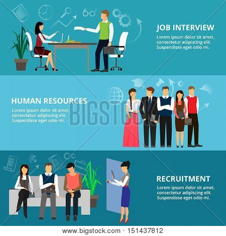 Modern flat thin line design vector illustration concepts of job interview human resources and recruitment for graphic and web design