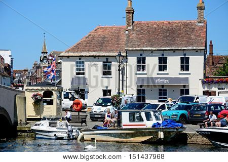 WAREHAM, UNITED KINGDOM - JULY 19, 2016 - Boats on the river with views towards the town Wareham Dorset England UK Western Europe, July 19, 2016.