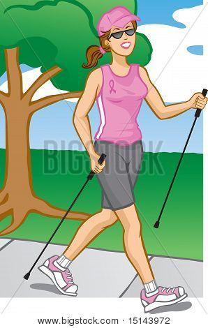 Woman Pole Walking