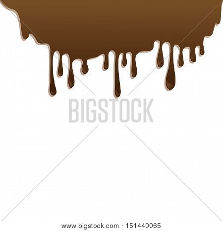 Chocolate streams isolated on white. Vector illustration