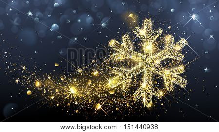 Christmas card with magic snowflake and flickering lights. Vector illustration