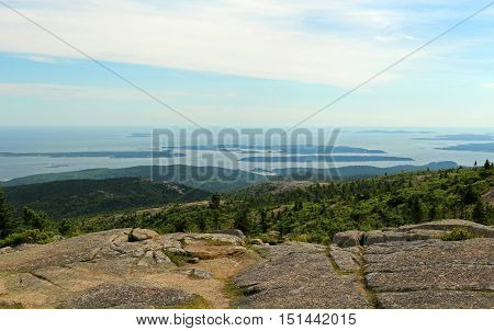 Scenic view from Cadillac Mountain in Acadia National Park in Maine