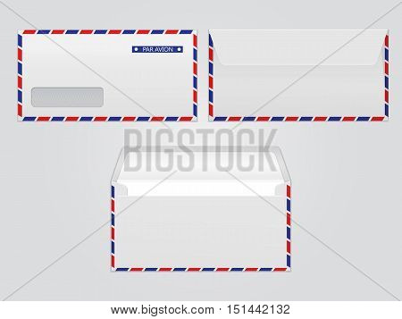 Vector mail envelopes par avion. Blank paper envelopes for your design. Vector envelopes template.