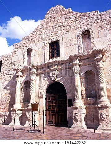 Front view of the Alamo San Antonio Texas USA.