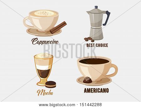 Cup of cappuccino coffee on saucer and coffee pot or kettle, mocha and americano or espresso with chocolate and sticks. Great for restaurant logo or cafe advertising, shop banner and dessert theme