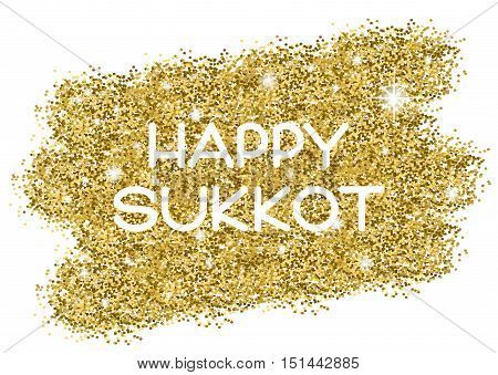 Sukkot greeting card. Happy Sukkot . White letters on golden background. Vector illustration