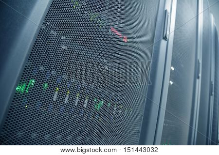 Perspective View And Distortion Effect Wide-Len Of Close up Server Rack With LED Indictor Inside