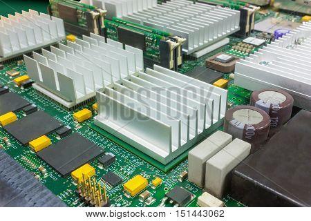 Selective Focus On Electronic Board With Big Heatsinks