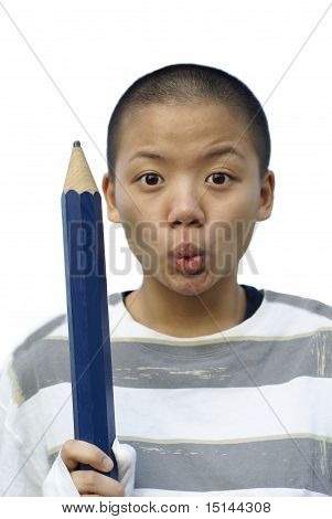 Bald chinese female teen with big pencil