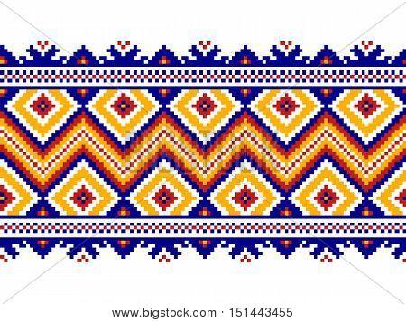 Vector illustration of Ukrainian folk seamless pattern ornament. Ethnic ornament. Border element.
