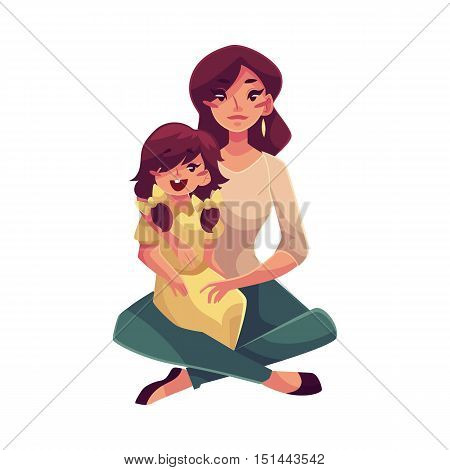 Mother daughter sitting on floor and hugging each other, cartoon vector illustrations isolated on white background. Pretty young woman with little daughter sitting on her knees, happy family concept