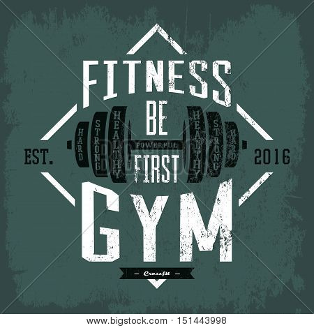 Dumbbell or barbell, rod or weight print on sportswear cloth. Gym or gymnasium, fitness center advertising on t-shirt or other sport equipment or accessories.For health club or athletic activity theme poster