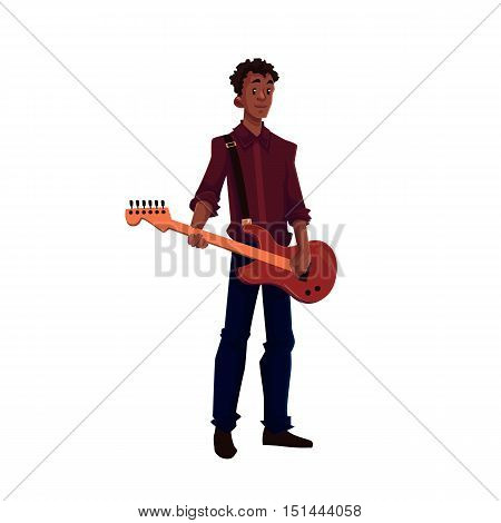 Young African American male electric guitar player, cartoon vector illustration isolated on white background. Full height portrait of black man playing electric guitar