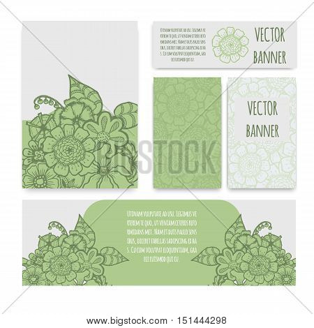 Ornate floral flyer with green flowers. Doodle sharpie background. template for card, poster, leaflet. eps10
