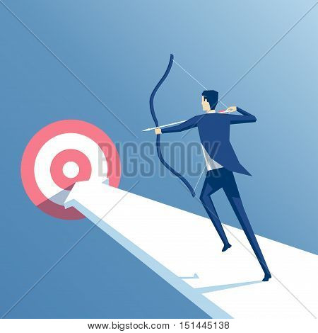 businessman to aim at a target archery employee runs on the arrow to the goal manager shoots from a bow at a target