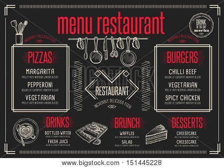 Placemat menu restaurant food brochure cafe template design. Creative vintage brunch flyer with hand-drawn graphic.