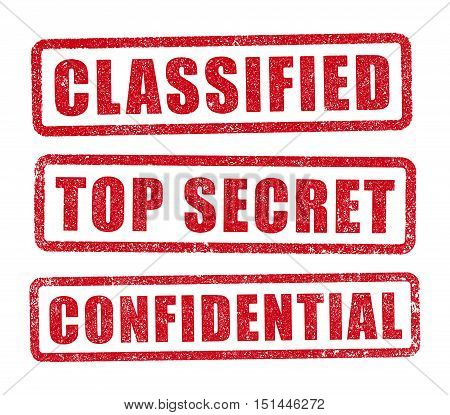 Classified, Top Secret and Confidential red stamps in vector poster