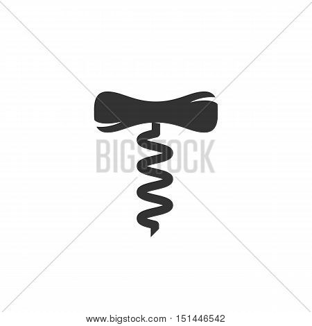 Corkscrew Icon isolated on a white background. Corkscrew Logo design vector template. Simple Logotype concept icon. Symbol, sign, pictogram, illustration - stock vector