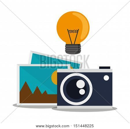 Light bulb camera and picture icon. Social media multimedia communcation and digital marketing theme. Colorful design. Vector illustration poster